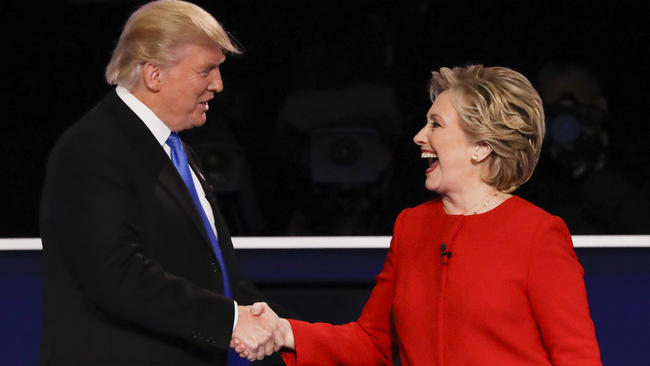 Goldman, David. Republican Presidential Nominee Donald Trump Shakes Hands with Democratic Presidential Nominee Hillary Clinton after the Presidential Debate at Hofstra University. Digital image. The Most Memorable Moments from the First Presidential Debate. Los Angeles Times, 26 Sept. 2016. Web. 27 Sept. 2016.