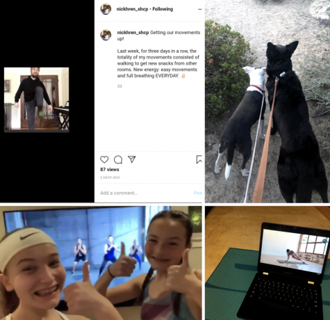 Students and faculty share how they are staying active indoors.  Upper left: Mr. Hren posts his morning stretching and exercise routine. Upper right: Margot Hart '22 goes on a hike with her dogs. Lower left: Sydney Scott, '22, does Zumba with her sister, incoming freshman Elliot Scott '24. Lower right: Ruby Southard, '22, follows a Chloe Ting YouTube workout video.