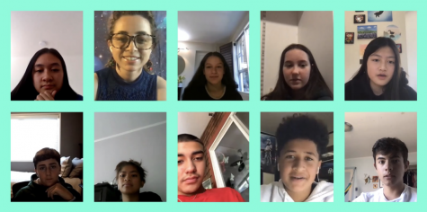 Ms. Borwell, the freshmen, and I gather together in our Frosh Fam session on Zoom. We are happily the leaders for this group of ten (two not shown) amazing freshmen.