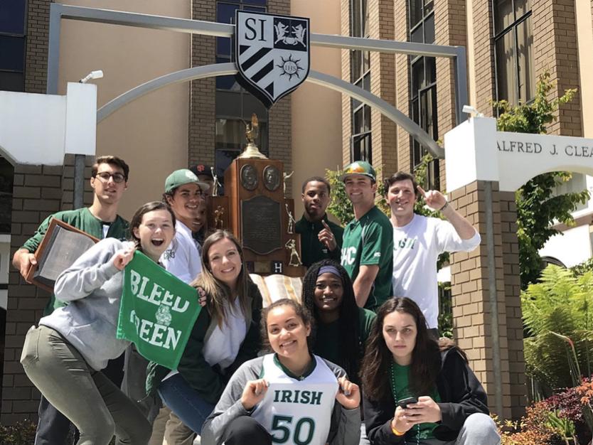 SHC athletes retrieve the Bruce-Mahoney trophy from Saint Ignatius in 2018.