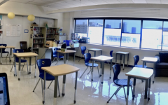 Room 505 on SHCs La Salle Campus being prepared for in-person instruction.