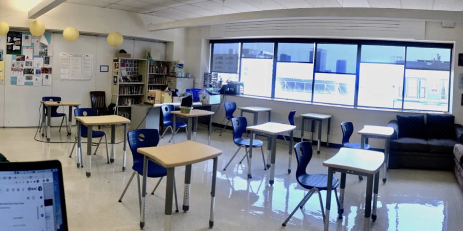 Room 505 on SHC's La Salle Campus being prepared for in-person instruction.