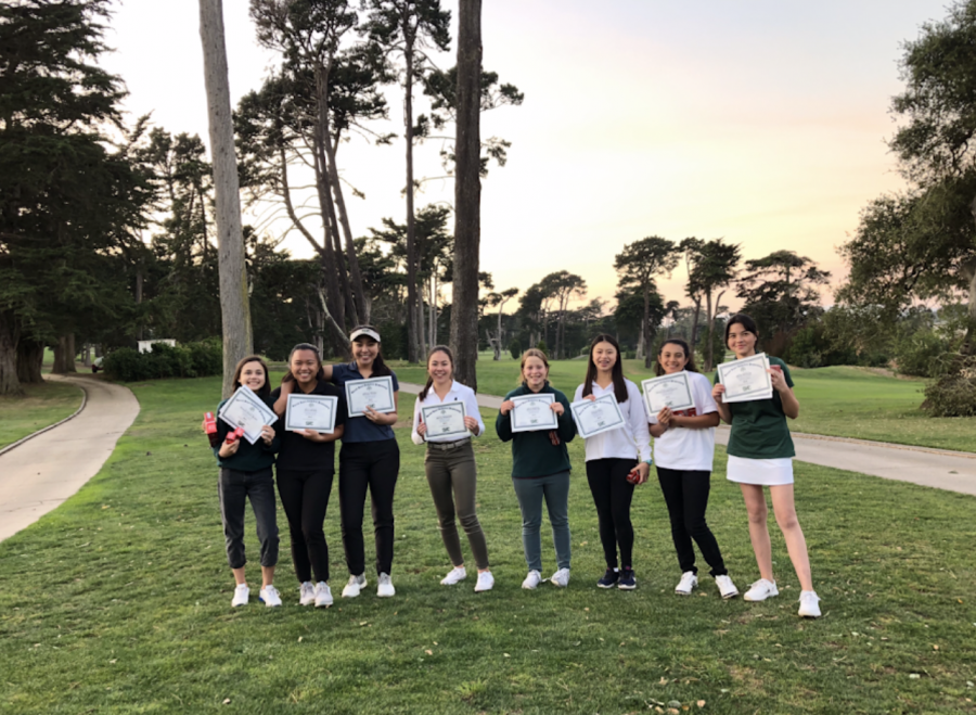 The 2020 SHC Girls Varsity Golf team receives their end-of-season awards. It is uncertain if this year's team will have the same opportunity.
