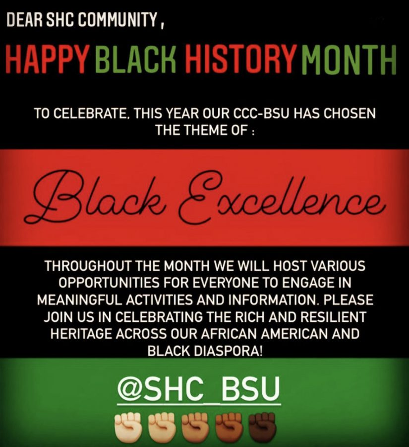 This+February%2C+SHC%E2%80%99s+Black+Student+Union+is+making+a+concerted+effort+to+celebrate+African-American+History+and+uplift+Black+voices+within+the+SHC+community.+