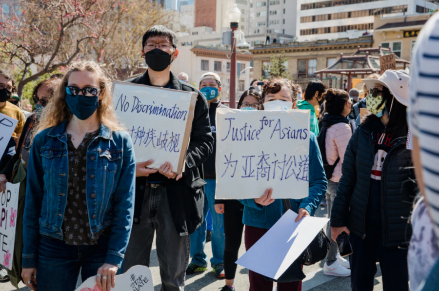 Demonstrators gather in San Francisco  to protest the recent uptick in anti-Asian-American violence in the United States.