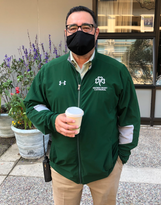 Mr. Sazo often enjoys a hot beverage while supervising students in the plaza.