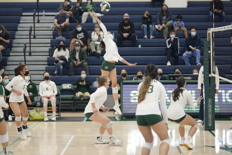 Girls Volleyball plays a match during their fall 2021 season.